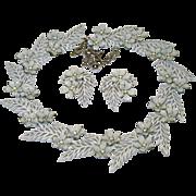 Vintage Trifari Enamel Rhinestone Necklace Earrings Flowering Fern 1958 AD