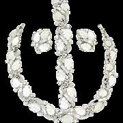 Vintage Trifari Glass Leaves Rhinestone Necklace Bracelet Earrings Book Ad Set