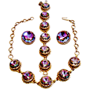 Vintage Schiaparelli Watermelon Tourmaline Necklace Bracelet Earrings Book Set