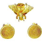 Vintage Nettie Rosenstein Trembler Brooch Earrings Pristine