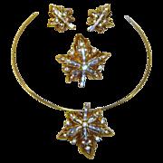 Vintage 1949 Trifari Pendant Earrings Brooch Maple Leaf Rhinestone Patent