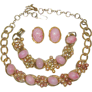 Vintage Set Pink Matrix Cabochon Fx Pearl Dangles Necklace Bracelet Earrings