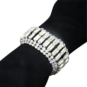 SALE Vintage Baguette Diamante Rhinestone Bracelet Wide Diamond Look