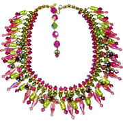 SALE Vintage Italy Couture Necklace Assunta Giovanna Crystal Murano Glass Bib