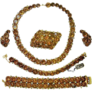 Vintage Kramer Net Rhinestone Necklace 2 Bracelets Brooch Earrings Book set