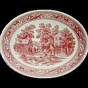 Vintage Red Transferware Platter Farm Scene