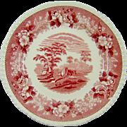 Antique Adams Red Pink Transferware Plate English Scenic