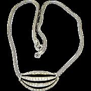 Vintage Eisenberg Necklace Enamel and Rhinestone Slide Pendant