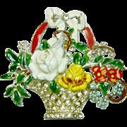 Vintage 1941 Coro Brooch Enamel Rhinestone Floral Basket Patent