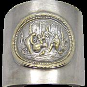 Vintage Denmark Repousse Cuff Story Bracelet Huge