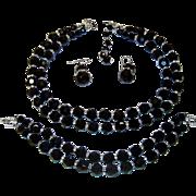 Vintage Trifari Black Crystal Rhinestone Rondelle Necklace Bracelet Earring Set