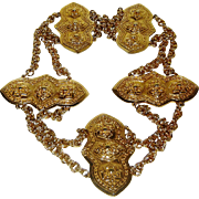 Vintage Accessocraft Belt Gold Tone Chain Medallion Massive