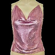 Vintage Pink Metal Mesh Halter Top