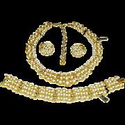 Vintage Trifari Fx Pearl Rhinestone Necklace Bracelet Earrings Set Orig Tags