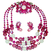 Vintage Hobe Pink Bead Crystal Necklace Bracelet Earrings Set
