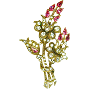 Vintage Staret Brooch Pink Flowers Diamante Rhinestone Huge