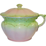 SALE Antique Fielding Co Victorian England Chamber Pot With Lid Pink Green Fabulous