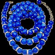SALE Vintage Blue Marbled Lucite Bead Rhinestone Rondelle 2 Necklaces Bracelet