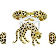 Vintage Diane Von Furstenberg Brooch Bracelet Earrings Enamel Rhinestone DVF Set