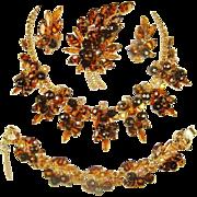 SALE Juliana Tiger Stripe Necklace Bracelet Brooch Earrings Tortoise D&E Book Set