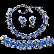 Vintage Kramer Set Blue Rhinestone Crystal Dangles Necklace Bracelet Earrings