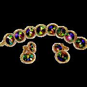 Vintage Vendome Bracelet Earrings Watermelon Rivoli Rhinestone Book Set