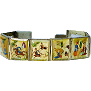 SALE Vintage Silver Persian Story Bracelet Hand Painted Mother of Pearl