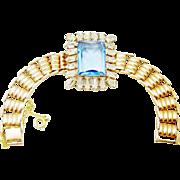 SALE Retro 1940s Sterling Bracelet Rose Gold Wash Sapphire Rhinestone Diamante