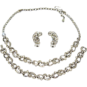 Vintage Pennino Necklace Bracelet Earrings Diamante Rhinestones