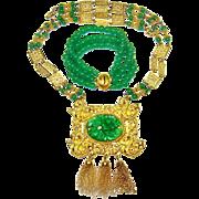 Vintage Les Bernard Necklace Faux Jade Bracelet