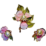 SALE Vintage Vendome Flower Brooch Earrings Enamel Fx Pearl Set