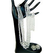 Vintage Bergere Crystal Rhinestone Necklace Bracelet Earrings