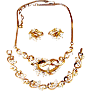 Vintage Trifari Rhinestone Necklace Bracelet Earrings 1953 Patent Set