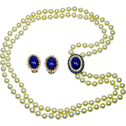 Vintage Panetta Faux Pearl Necklace Hobe Lapis Art Glass Earrings