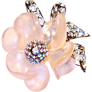 SALE Huge Vrba Brooch Pink Flower Diamante Rhinestones