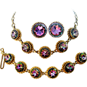 Vintage Schiaparelli Watermelon Tourmaline Necklace Bracelet Earring Book Set