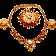 SALE Vintage juliana Necklace Brooch Earrings Scooped Rhinestones D&E Book Set