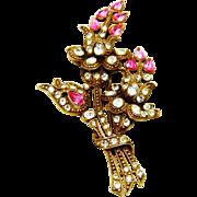 SALE Vintage Staret Brooch Pink Flowers Diamante Rhinestone Huge