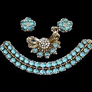 SALE 1940s Trifari Sterling Aquamarine Rhinestone Bracelet Brooch Earrings Book Ad
