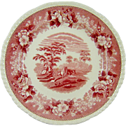 Antique Adams Red Pink Transferware Plate English Scenic