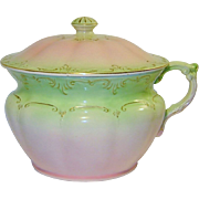 SALE Antique Fielding Victorian Chamber Pot With Lid Pink Green England