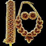 SALE Vintage Kramer Topaz Rhinestone AB Netted Necklace Bracelet Earring Set Book