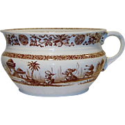 SALE Antique Ridgway Yeddo Chamber Pot Brown Transferware Rare Aesthetic Pattern