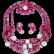SALE Vintage Hobe Pink Bead Crystal Necklace Bracelet Earrings Set