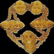 SALE Vintage Accessocraft Belt Gold Tone Chain Medallion Massive