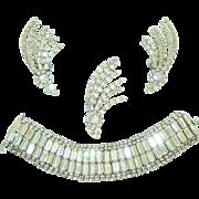 Vintage Kramer Brooch Earrings Bracelet Atomic Rhinestone Set