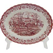 Myott Pink Red Transferware Platter Country Life