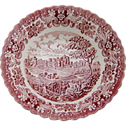 SALE Old Country Castles Pin Red Transferware Bowl England