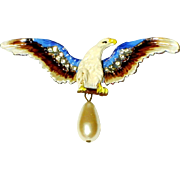 SALE Vintage Chanel Novelty Eagle Brooch Faux Pearl Enamel Rhinestone Rare