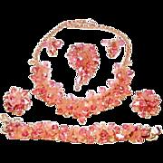 SALE Vintage Juliana Pink Dangling Necklace Bracelet Brooch Earrings Frosted Petals Rhinestone